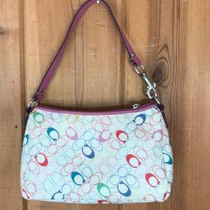 Coach Bags - Coach rainbow logo shoulder bag with pink details